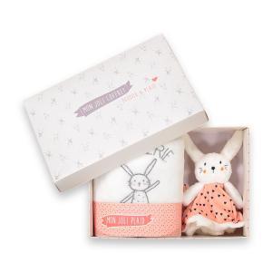 Комплект из игрушки заяца и пледа La Redoute Collections. Цвет: белый + розовый