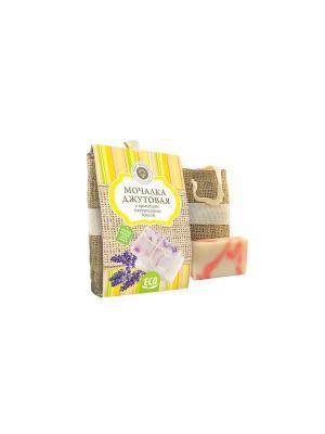 Сувенирный набор Мочалка джутовая с натуральным мылом Роза Мануфактура Дом Природы. Цвет: серо-зеленый