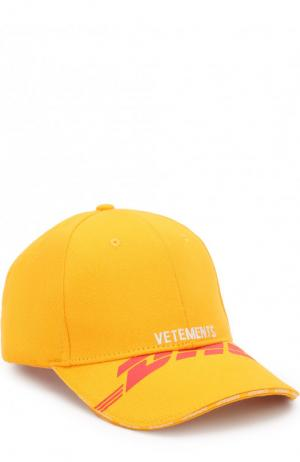 Хлопковая бейсболка Vetements. Цвет: желтый