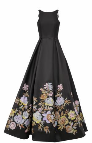 Приталенное платье-макси с цветочным принтом Basix Black Label. Цвет: черный