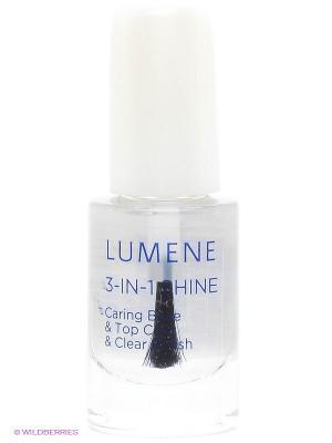 Средство Lumene Gloss & Care 3в1: ухаживающая основа + закрепляющее покрытие сияющий блеск, 5 мл. Цвет: прозрачный