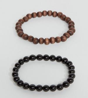 ASOS Набор браслетов из бусин (черный/коричневый). Цвет: черный