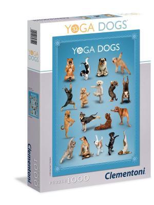 Итальянский пазл Clementoni. Серия HQ. Дэн Боррис YOGA DOGS. 1000 эл. Clementoni. Цвет: серый, белый, голубой
