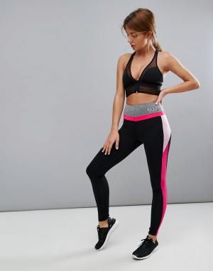Elle Sport Розовые леггинсы с сетчатыми вставками s. Цвет: черный