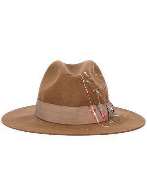 Шляпа с принтом брызг краски Sensi Studio. Цвет: коричневый