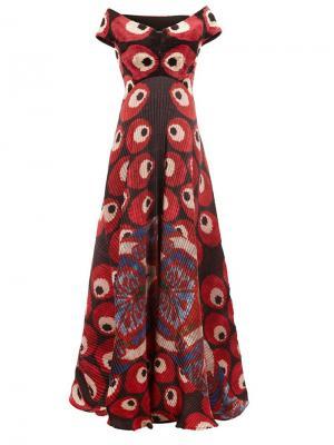 Плиссированное платье с открытыми плечами Afroditi Hera. Цвет: многоцветный