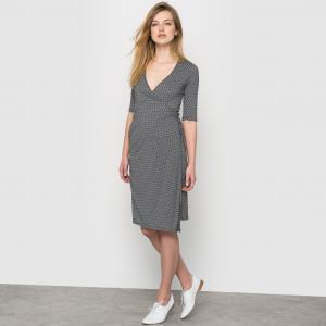 Платье с запахом, рисунком R édition. Цвет: набивной рисунок