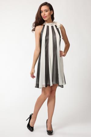 Двойное платье с завязкой на шеи Manys Tune. Цвет: черный, белый