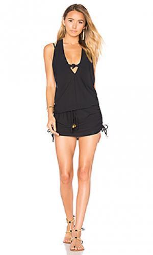 Мини-платье с t-образной бретелькой сзади Luli Fama. Цвет: черный