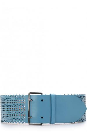 Кожаный ремень с перфорацией Alaia. Цвет: голубой