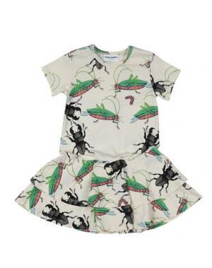 Платье MINI RODINI. Цвет: слоновая кость