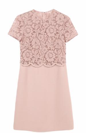 Мини-платье с кружевным лифом Valentino. Цвет: светло-розовый
