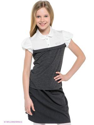 Блузка Cleverly. Цвет: белый, антрацитовый