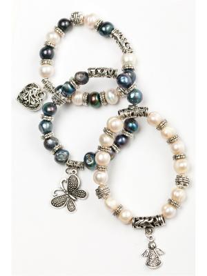 Комплект из 3-х браслетов Oceania. Цвет: темно-синий, белый