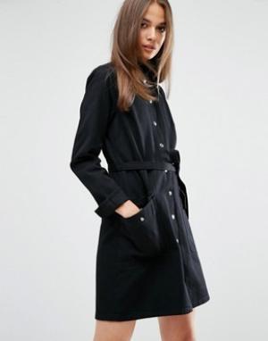 MiH Jeans Платье-рубашка в стиле милитари с поясом M.i.h Ohio. Цвет: черный