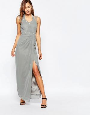 VLabel London Декорированное платье макси с разрезом сбоку. Цвет: серебряный