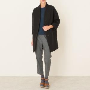 Пальто длинное POMANDERE. Цвет: серо-коричневый,черный