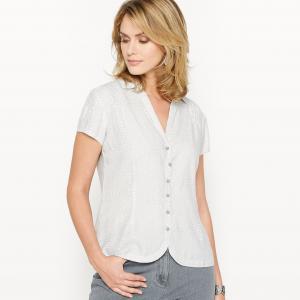 Рубашка с рисунком из струящегося крепа ANNE WEYBURN. Цвет: рисунок/фон экрю