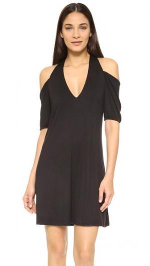 Мини-платье с открытыми плечами Haute Hippie. Цвет: голубой