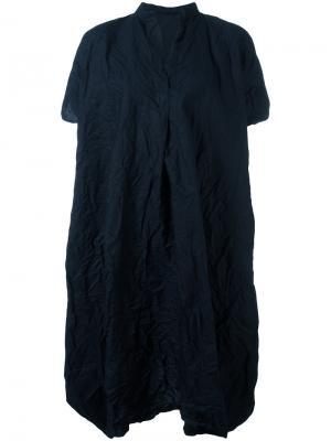 Платье-футболка с воротником в китайском стиле Daniela Gregis. Цвет: чёрный