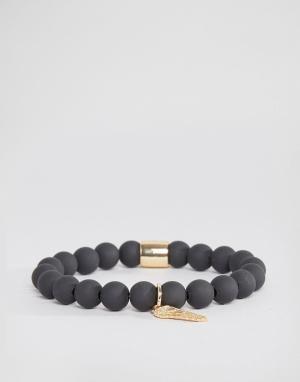 Chained & Able Черный матовый браслет с бисером и золотистой отделкой. Цвет: черный