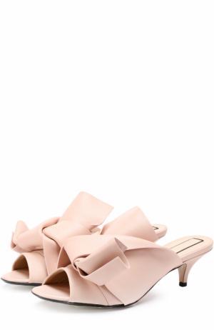 Кожаные мюли с бантом на шпильке No. 21. Цвет: светло-розовый