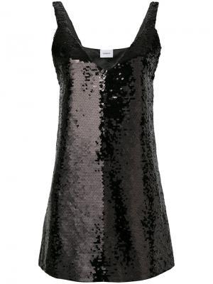 Платье с пайетками и V-образным вырезом Dondup. Цвет: чёрный