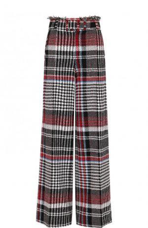 Расклешенные буклированные брюки с широким поясом Oscar de la Renta. Цвет: разноцветный
