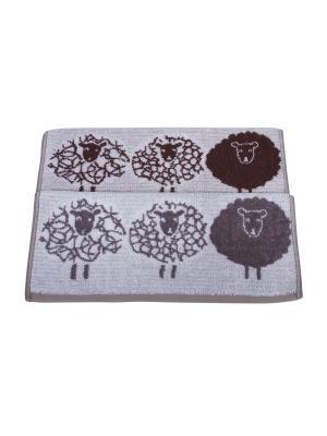 Набор из 2х полотенец Овцы 35*35 см. Dream time. Цвет: серый, коричневый, светло-серый