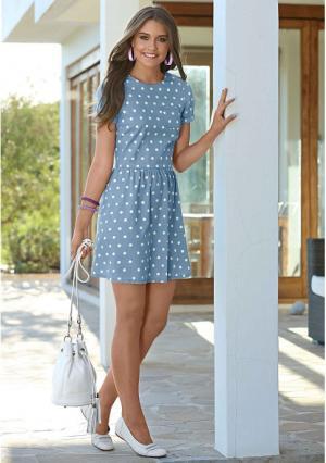 Джинсовое платье Y.O.U.. Цвет: голубой/белый