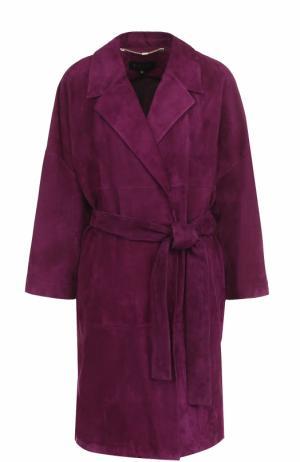 Замшевые пальто с поясом Escada. Цвет: лиловый