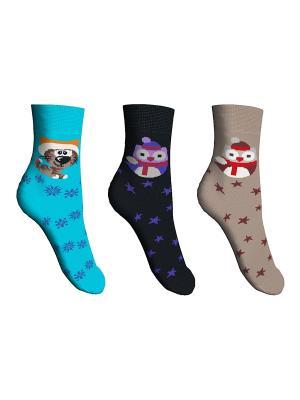 Носки 3 пары Master Socks. Цвет: черный, бирюзовый, бежевый