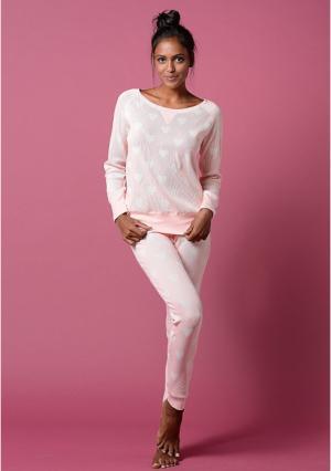 Пижама VIVANCE. Цвет: розовый сердечки, серый звезды, синий с рисунком сердечки, экрю бабочки
