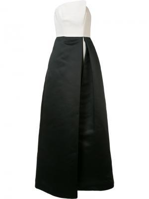 Асимметричное платье без бретелек Halston Heritage. Цвет: белый