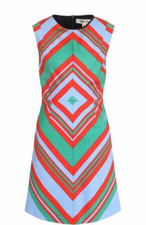 Приталенное мини-платье с ярким принтом Diane Von Furstenberg. Цвет: разноцветный