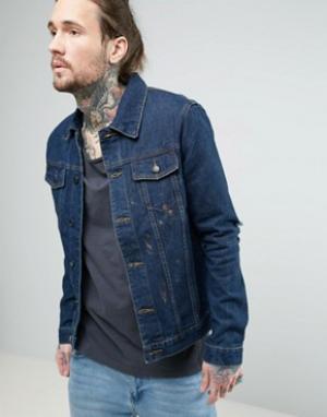 Always Rare Джинсовая куртка с золотистой краской. Цвет: темно-синий