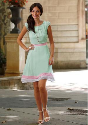 Платье Y.O.U.. Цвет: мятный/розовый
