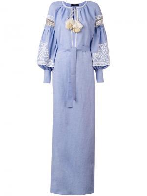 Кафтан с вышивкой и рукавами-колокол Wandering. Цвет: синий