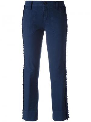 Укороченные брюки с лампасами Tory Burch. Цвет: синий