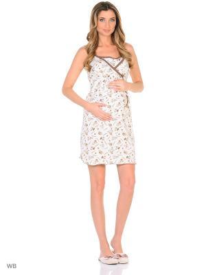 Ночная сорочка для беременных и кормления 40 недель. Цвет: коричневый, бежевый