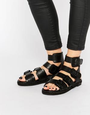 Kendall + Kylie Черные кожаные сандалии с пряжками & Jackie. Цвет: черный