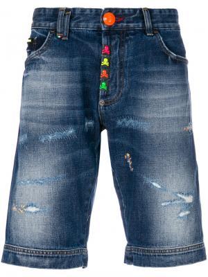 Джинсовые шорты Stop Me Philipp Plein. Цвет: синий
