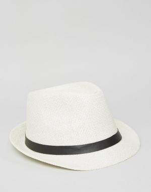 7X Соломенная шляпа с ремешком. Цвет: белый