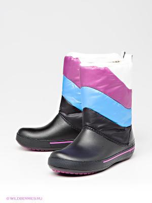 Полусапожки CROCS. Цвет: черный, синий, фиолетовый, белый