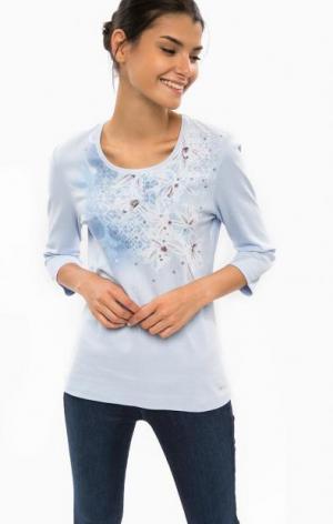 Хлопковая футболка с длинными рукавами olsen. Цвет: цветочный принт