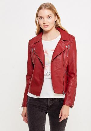 Куртка кожаная Only. Цвет: бордовый