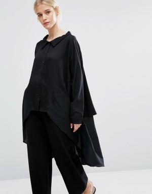 Zacro Oversize-рубашка из смешанных тканей с асимметричной кромкой. Цвет: черный