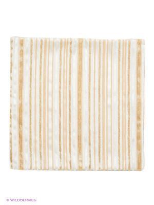 Декоративная наволочка 43х43, молния, бежево-горчичные полоски Asabella. Цвет: бежевый