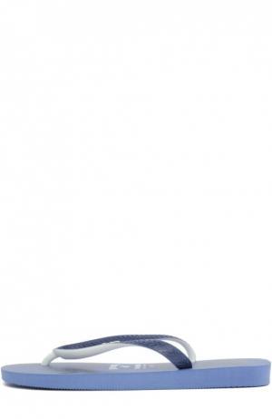 Резиновые шлепанцы с принтом Vilebrequin. Цвет: синий