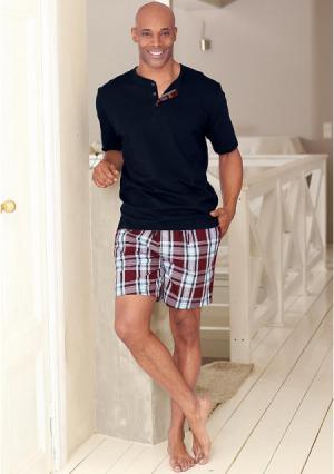 Пижама с шортами H.I.S.. Цвет: темно-синий/бордовый
